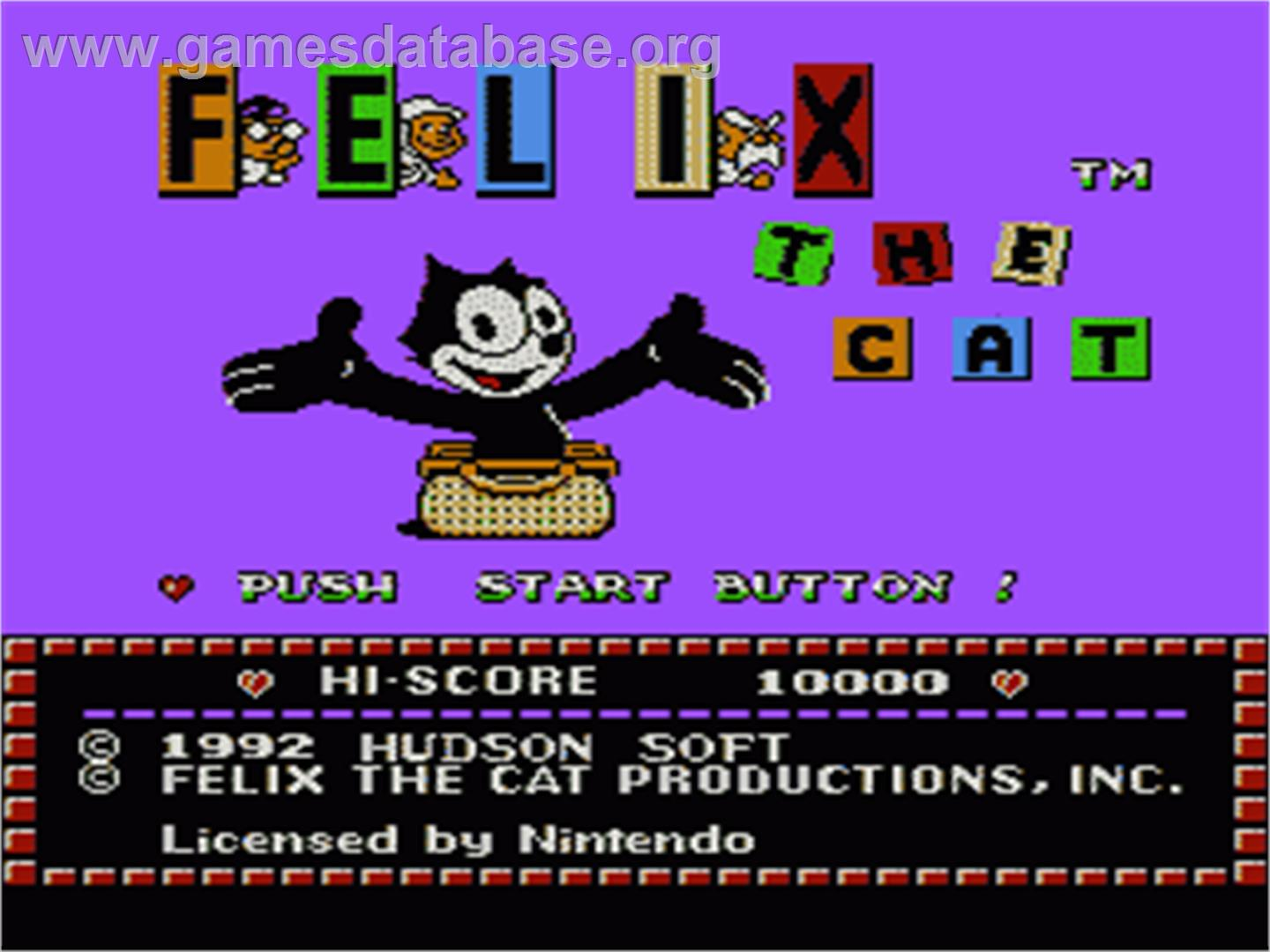 Felix the Cat - Nintendo NES - Artwork - Title Screen