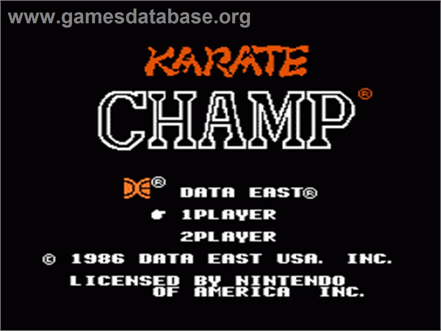 Title screen of Karate Champ on the Nintendo NES.
