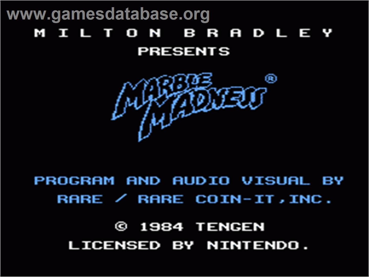Marble Madness - Nintendo NES - Artwork - Title Screen