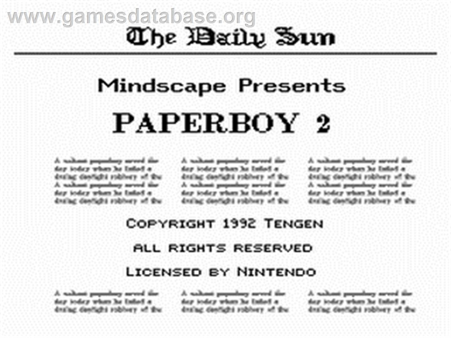 Paperboy 2 - Nintendo NES - Artwork - Title Screen
