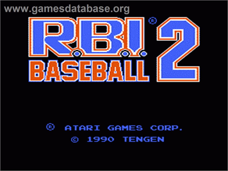Title screen of RBI Baseball 2 on the Nintendo NES.