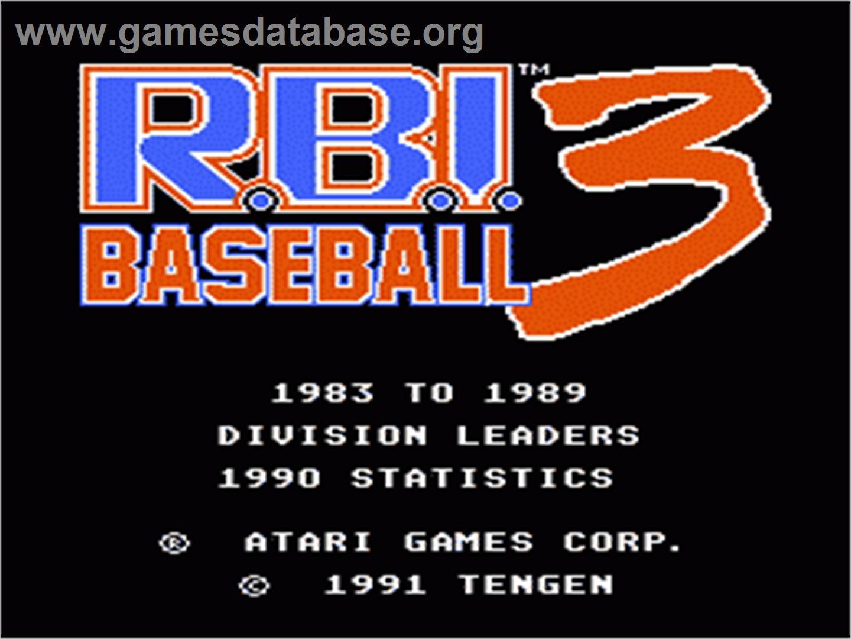 Title screen of RBI Baseball 3 on the Nintendo NES.