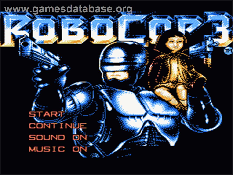 Title screen of Robocop 3 on the Nintendo NES.