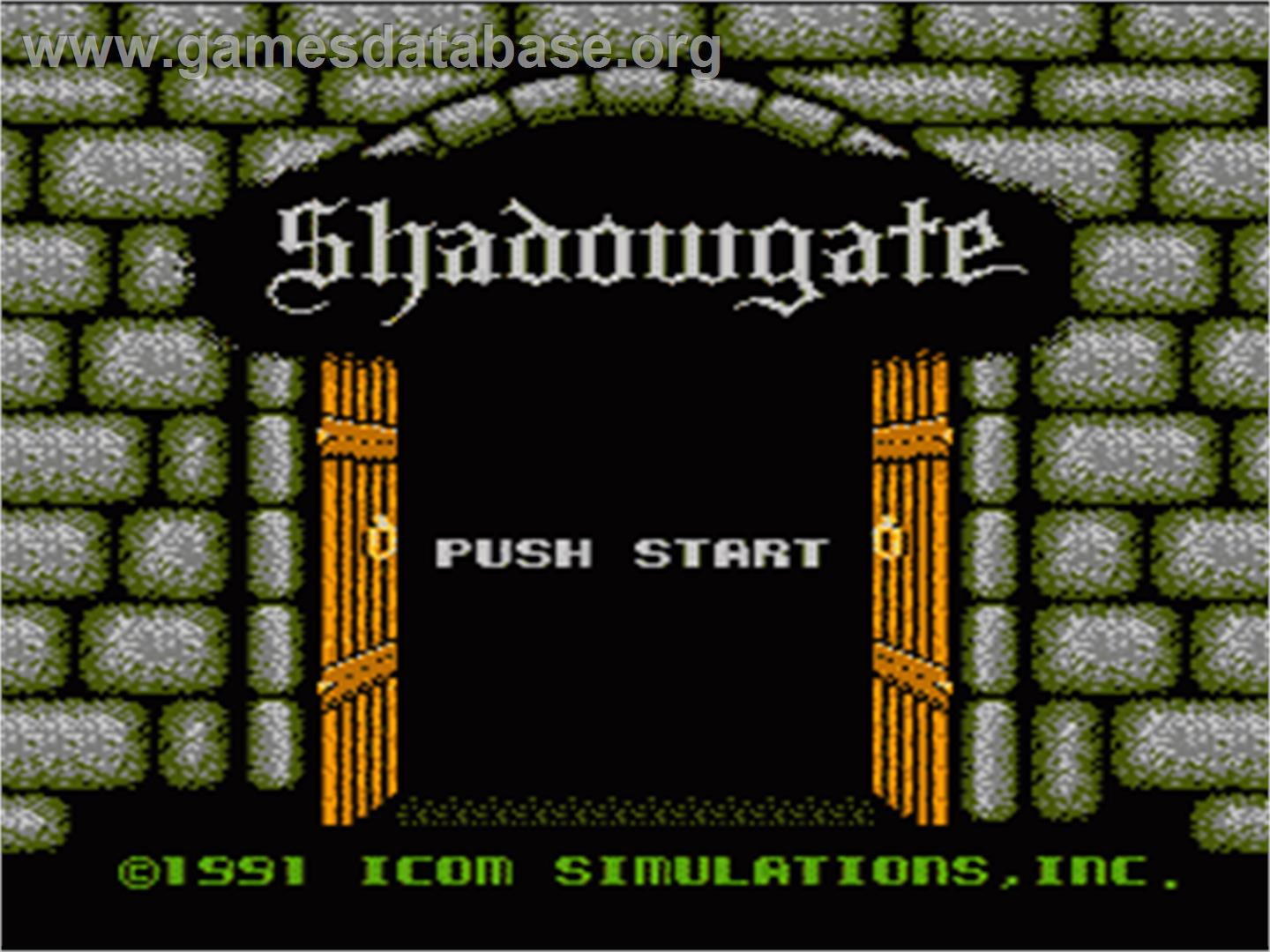 Title screen of Shadowgate on the Nintendo NES.