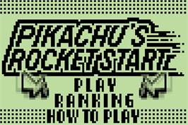 Title screen of Pokemon Party Mini - Pikachu's Rocket Start on the Nintendo Pokemon Mini.