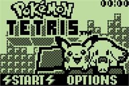 Title screen of Pokemon Tetris on the Nintendo Pokemon Mini.