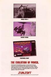Advert for Firepower 2000 on the Nintendo SNES.