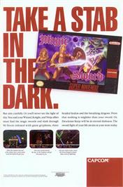 Advert for Magic Sword on the Nintendo SNES.