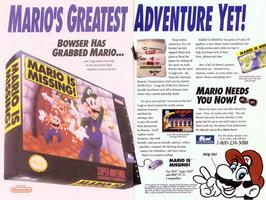 Advert for Mario is Missing! on the Nintendo SNES.