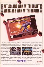 Advert for MechWarrior on the Nintendo SNES.