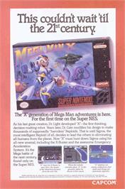 Advert for Mega Man X on the Nintendo SNES.