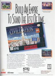 Advert for Sid Meier's Civilization on the Nintendo SNES.
