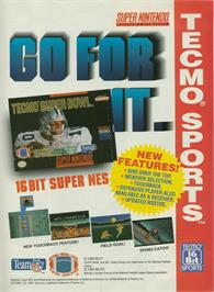 Advert for Tecmo Super Bowl on the Nintendo SNES.