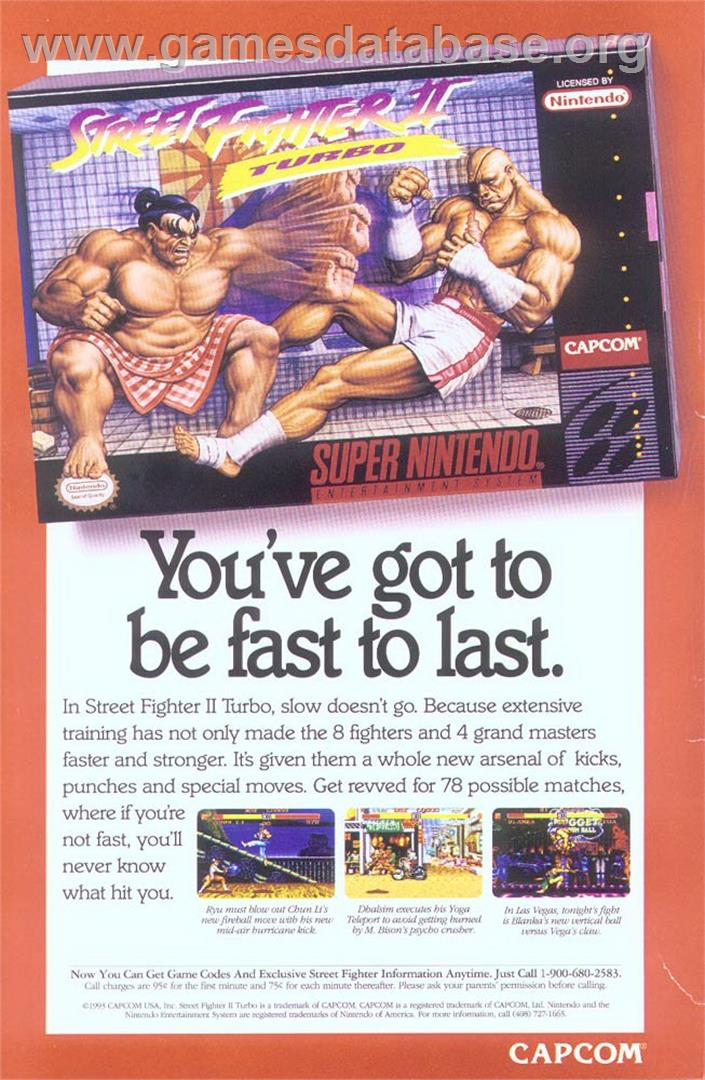 Street Fighter Ii Turbo Hyper Fighting Nintendo Snes Artwork