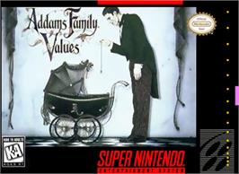 Box cover for Addams Family Values on the Nintendo SNES.