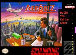 Box cover for Aerobiz on the Nintendo SNES.