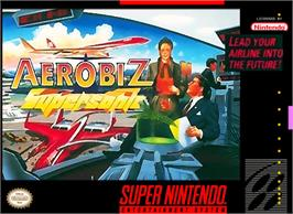 Box cover for Aerobiz Supersonic on the Nintendo SNES.