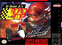 Box cover for Al Unser Jr.'s Road to the Top on the Nintendo SNES.
