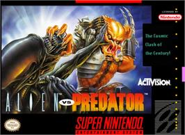 Box cover for Alien Vs. Predator on the Nintendo SNES.