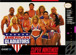 Box cover for American Gladiators on the Nintendo SNES.