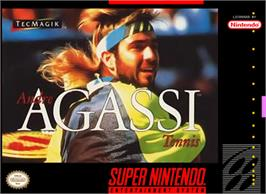 Box cover for Andre Agassi Tennis on the Nintendo SNES.