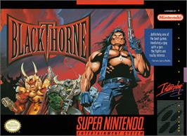 Box cover for Blackthorne on the Nintendo SNES.