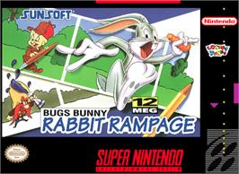 Box cover for Bugs Bunny Rabbit Rampage on the Nintendo SNES.