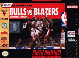 Box cover for Bulls vs. Blazers and the NBA Playoffs on the Nintendo SNES.