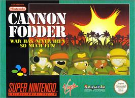 Box cover for Cannon Fodder on the Nintendo SNES.