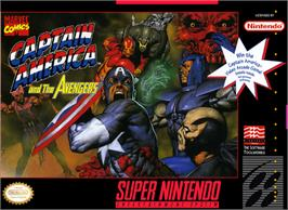 Box cover for Captain America and the Avengers on the Nintendo SNES.