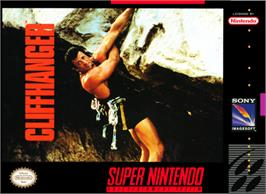 Box cover for Cliffhanger on the Nintendo SNES.