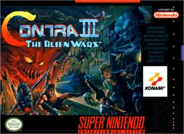 Box cover for Contra III: The Alien Wars on the Nintendo SNES.