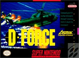 Box cover for D-Force on the Nintendo SNES.