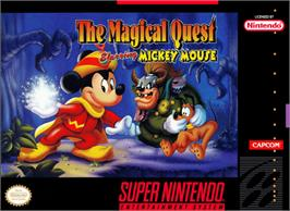Box cover for Disney's Magical Quest Starring Mickey Mouse on the Nintendo SNES.
