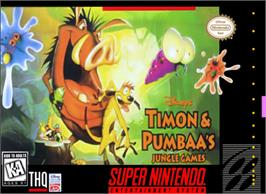 Box cover for Disney's Timon & Pumbaa's Jungle Games on the Nintendo SNES.