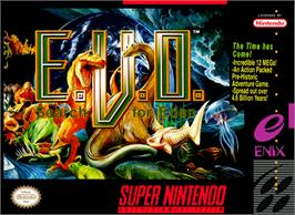 Box cover for E. V. O.: Search for Eden on the Nintendo SNES.