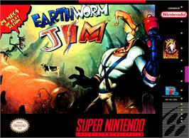 Box cover for Earthworm Jim on the Nintendo SNES.
