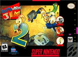 Box cover for Earthworm Jim 2 on the Nintendo SNES.