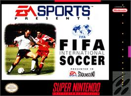 Box cover for FIFA International Soccer on the Nintendo SNES.