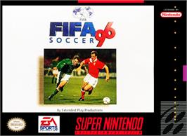 Box cover for FIFA Soccer '96 on the Nintendo SNES.