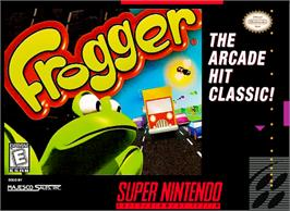 Box cover for Frogger on the Nintendo SNES.