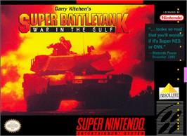 Box cover for Garry Kitchen's Super Battletank: War in the Gulf on the Nintendo SNES.