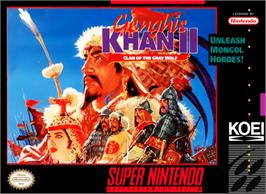 Box cover for Genghis Khan II: Clan of the Grey Wolf on the Nintendo SNES.