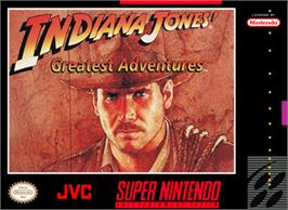 Box cover for Indiana Jones' Greatest Adventures on the Nintendo SNES.