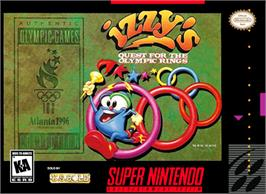 Box cover for Izzy's Quest for the Olympic Rings on the Nintendo SNES.