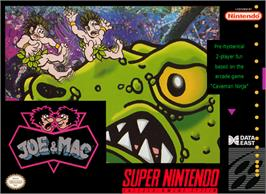 Box cover for Joe & Mac: Caveman Ninja on the Nintendo SNES.