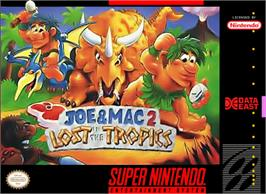 Box cover for Joe & Mac 2: Lost in the Tropics on the Nintendo SNES.