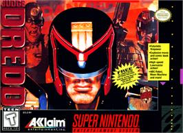Box cover for Judge Dredd on the Nintendo SNES.
