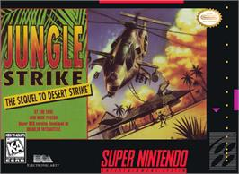Box cover for Jungle Strike on the Nintendo SNES.