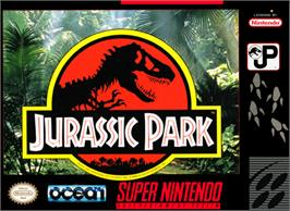 Box cover for Jurassic Park on the Nintendo SNES.